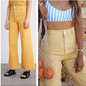 Zara Yellow Maine Wide Straight Denim Pants